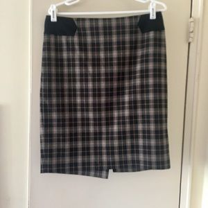 Limited brown and black plaid skirt